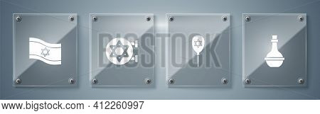 Set Jewish Wine Bottle, Balloon With Star Of David, Synagogue And Flag Israel. Square Glass Panels.