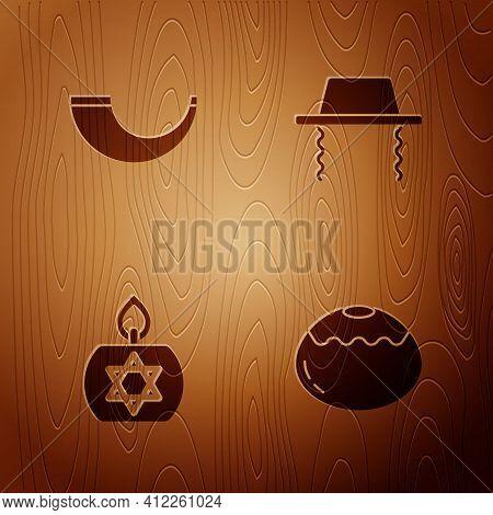 Set Jewish Sweet Bakery, Traditional Ram Horn, Shofar, Burning Candle And Orthodox Jewish Hat On Woo