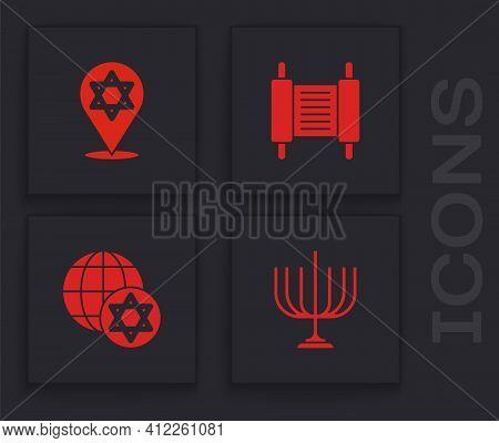 Set Hanukkah Menorah, Star Of David, Torah Scroll And World Globe And Israel Icon. Vector