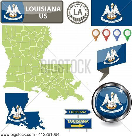 Map Of Louisiana State, Us With Flag And Counties. Vector Image