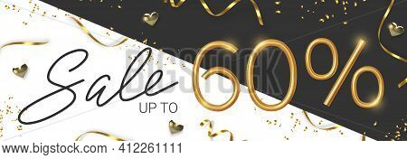60 Off Discount Promotion Sale Made Of Realistic 3d Gold Number With Sepantine And Tinsel. Vector