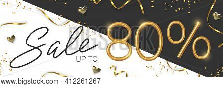 80 Off Discount Promotion Sale Made Of Realistic 3d Gold Number With Sepantine And Tinsel. Vector