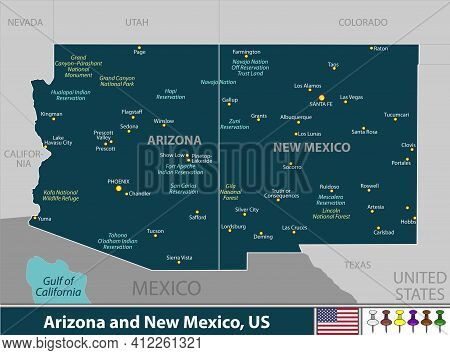 Vector Of Arizona And New Mexico States Of United States With Large Cities
