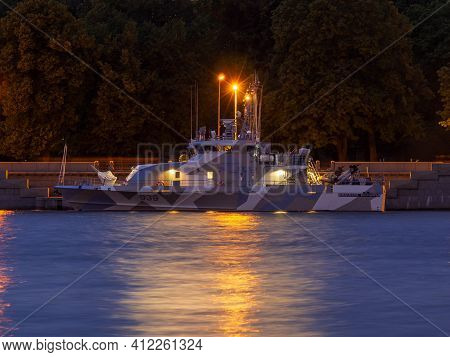 St. Petersburg. Russia. A Warship In The Waters Of The Neva. White Nights In St. Petersburg. Festive
