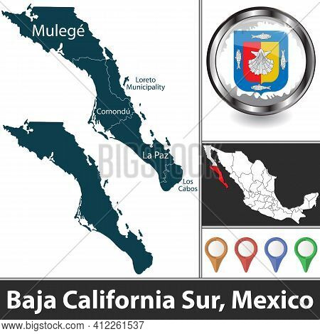 State Of Baja California Sur With Municipalities And Location On Mexican Map. Vector Image