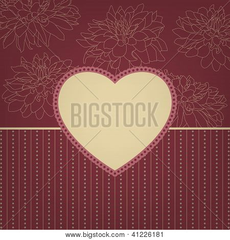 Greeting retro card with heart