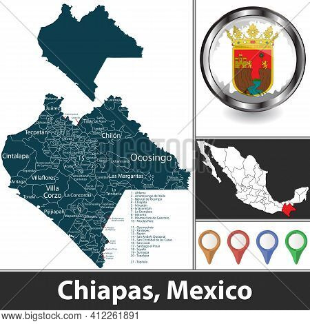 State Of Chiapas With Municipalities And Location On Mexican Map. Vector Image