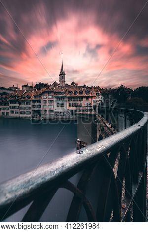 Summer Evening Sunset With Colorful Sky, Bern, Unesco, Switzerland