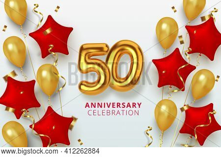 50 Anniversary Celebration Number In The Form Star Of Golden And Red Balloons. Realistic 3d Gold Num
