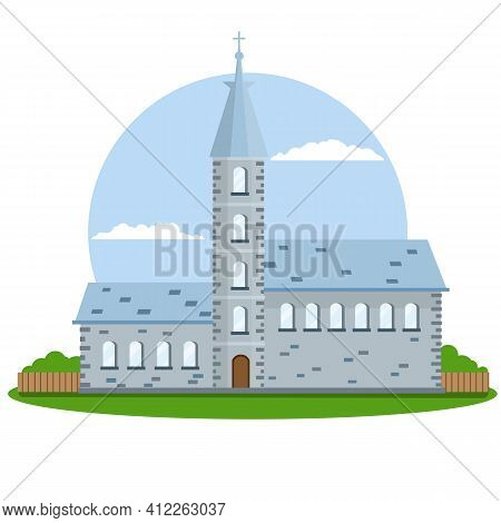 Old Town Hall Building With Blue Roof, Bell Tower And Spire. European Urban Architecture. The Mediev