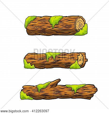 Vector Brown Log With Green Moss. Building Wood Material, Natural Element. Environment Of Forest. Se