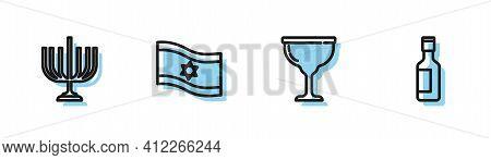 Set Line Jewish Goblet, Hanukkah Menorah, Flag Of Israel And Wine Bottle Icon. Vector