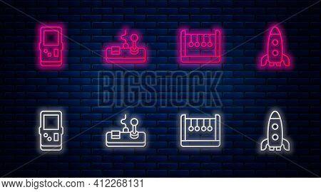 Set Line Gamepad, Pendulum, Tetris And Rocket Ship. Glowing Neon Icon On Brick Wall. Vector
