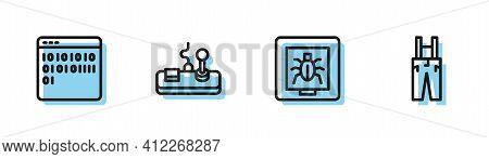 Set Line Insects In A Frame, Binary Code, Gamepad And Pants With Suspenders Icon. Vector