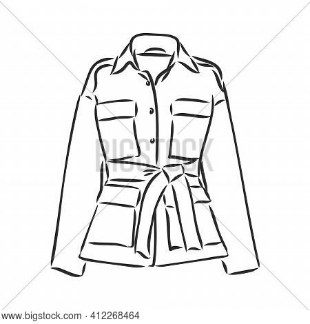 Leather Jacket Vector, Icon, Sketch Jacket, Vector Sketch On A White Background