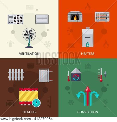 Heating Ventilation And Convection Flat Icons Set Isolated Vector Illustration