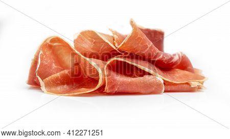 Dry Spanish Ham, Jamon Serrano, Iberian Ham Isolated On White Background. Catering, Banner, Menu, Re