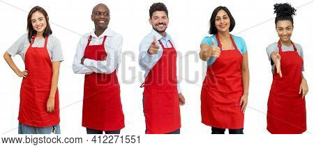 Waiters And Waitresses And Clerks - Group Of Motivated Latin American And African And Caucasian Work
