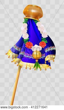 Happy Ugadi Indian Holiday. Gudi Padwa Pot On Stick And Flower Garland