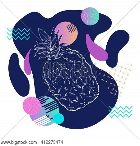 Abstract Decorative Element With Geometric Shapes And Pineapple, Flat Vector Illustration Isolated O