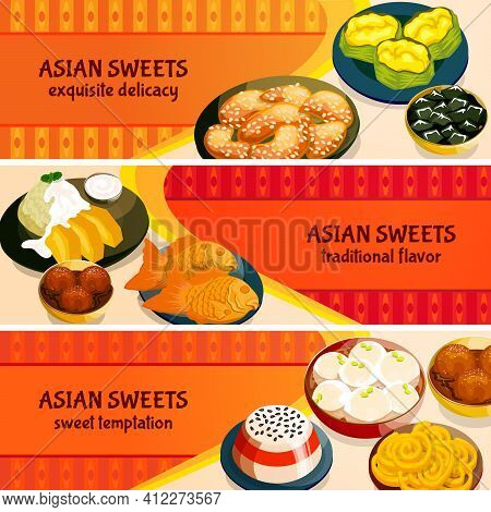Asian Sweets Horizontal Banners Set With Traditional Flavor Of Exquisite Delicacies Isolated Vector
