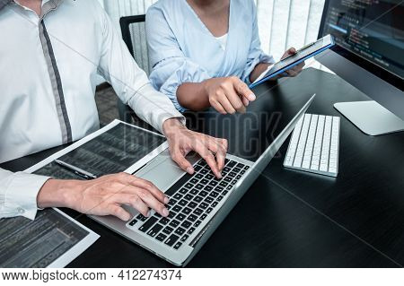 Team Of Programmer Working In Software Javascript Computer In It Office, Writing Codes And Data Code