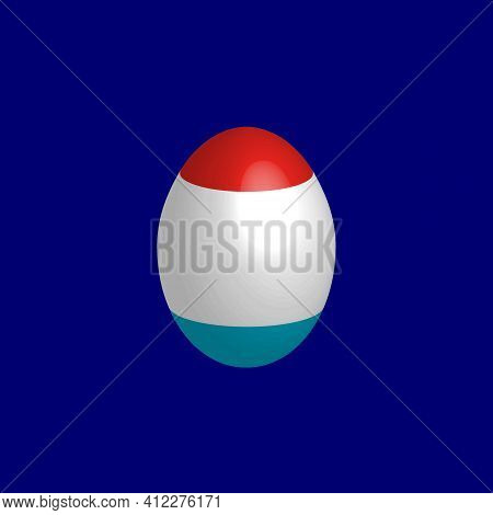 Easter Egg In The Colors Of The Luxembourg Flag. Luxembourg Flag. Easter Chicken Egg. Christian Reli