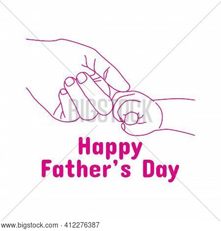 Father's Day Concept. Togetherness Of Father And Son. Hand Drawn Illustration Of Father And Son In O