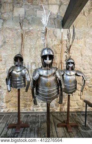 Gallery Of Knights Armor. Knights Iron Armor In The Museum. Toned
