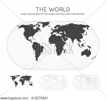 Map Of The World. Natural Earth Projection. Globe With Latitude And Longitude Lines. World Map On Me