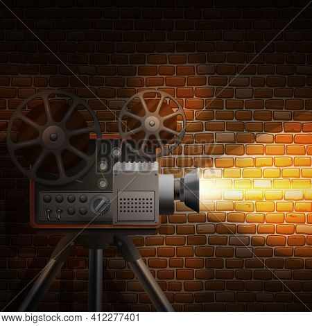 Retro Film Wallpaper With Realistic Projector And Spotlight On Brick Wall Background Vector Illustra