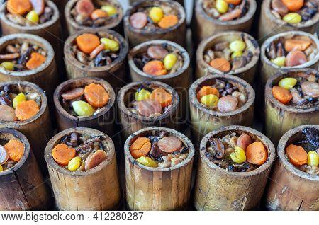 Thai Food Cusine Menu In Bamboo Wood In Nature Process