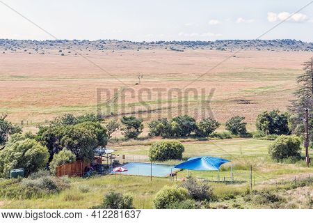 Bloemfontein, South Africa - February 27, 2021: View Of Farm Windhoek, A Working Farm Which Offers A