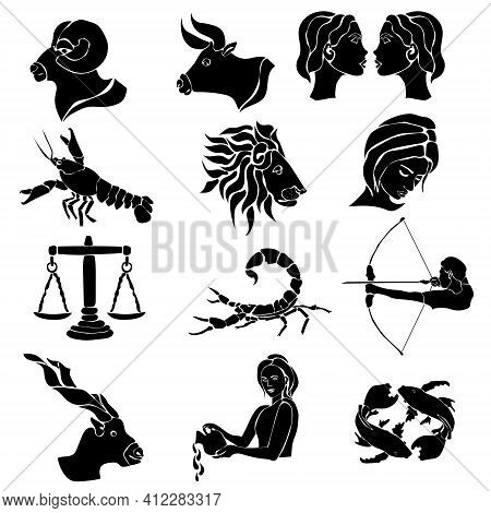 Zodiac Signs, Set Of Twelve Silhouettes With Astrological Symbols Vector Illustration