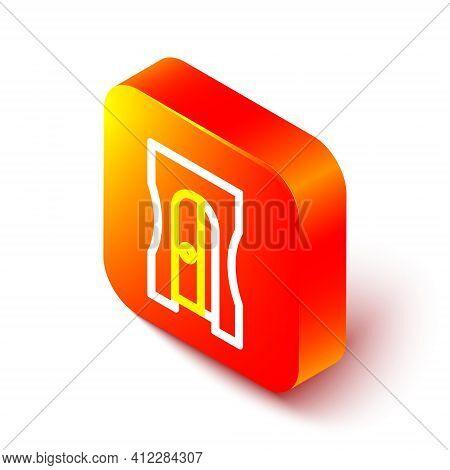 Isometric Line Pencil Sharpener Icon Isolated On White Background. Orange Square Button. Vector Illu
