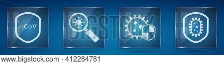 Set Shield Protecting From Virus, Virus Under Magnifying Glass, Shield Protecting From Virus And Shi