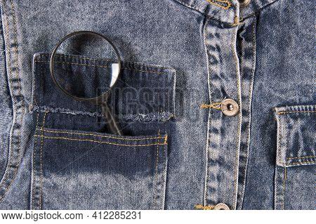 Magnifier In Pocket Of Blue Men's Shirt, Closeup. Flat Lay, Upper View.