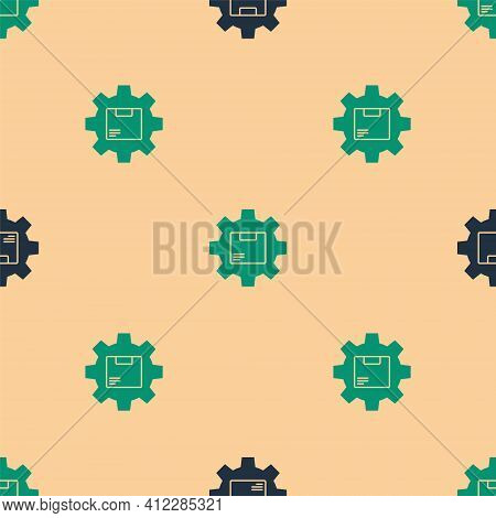 Green And Black Gear Wheel With Package Box Icon Isolated Seamless Pattern On Beige Background. Box,