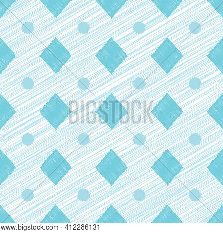 Abstract Geometric Seamless Pattern With Circles And Rhombuses