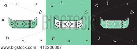 Set Kayak And Paddle Icon Isolated On White And Green, Black Background. Kayak And Canoe For Fishing