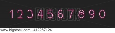 Neon Number Vector Led Numbers Set, Nightlife Typeset With Illuminated Glowing Effect Font Illustrat