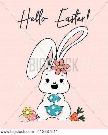 Cute Spring Bunny Hug Easter Egg.  Happy Spring Easter, Cute Cartoon Doodle Drawing Illustration Vec