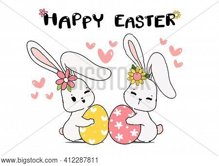 Two Couple Cute Spring Bunny Hug Easter Egg. Happy Spring Easter, Cute Cartoon Doodle Drawing Illust