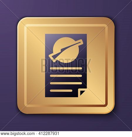 Purple Firearms License Certificate Icon Isolated On Purple Background. Weapon Permit. Gold Square B