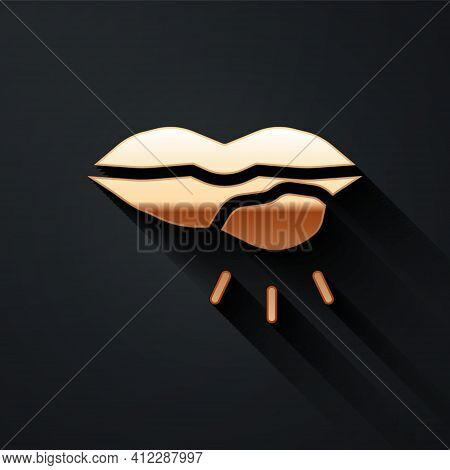 Gold Herpes Lip Icon Isolated On Black Background. Herpes Simplex Virus. Labial Infection Inflammati