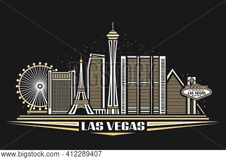 Vector Illustration Of Las Vegas, Horizontal Poster With Simple Design Buildings And Outline Landmar