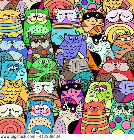 A Hand Drawn Doodle Illustration Of A Group Of Colorful, Cute Cats.