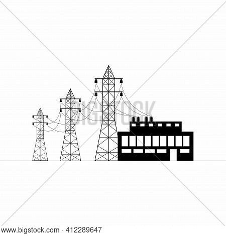 Overhead Power Line, Transformer Substation. Electricity Transmission And Supply. Flat Vector Illust
