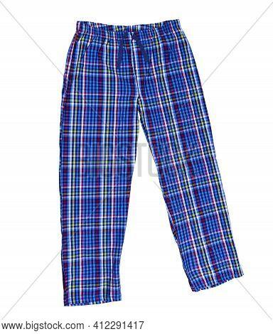 Pajamas Pants Isolated On White Background. Plaid Sleep Pants Close Up