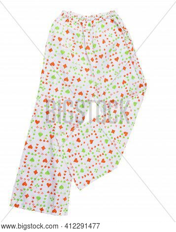 White Pants With Creative Print On White Background